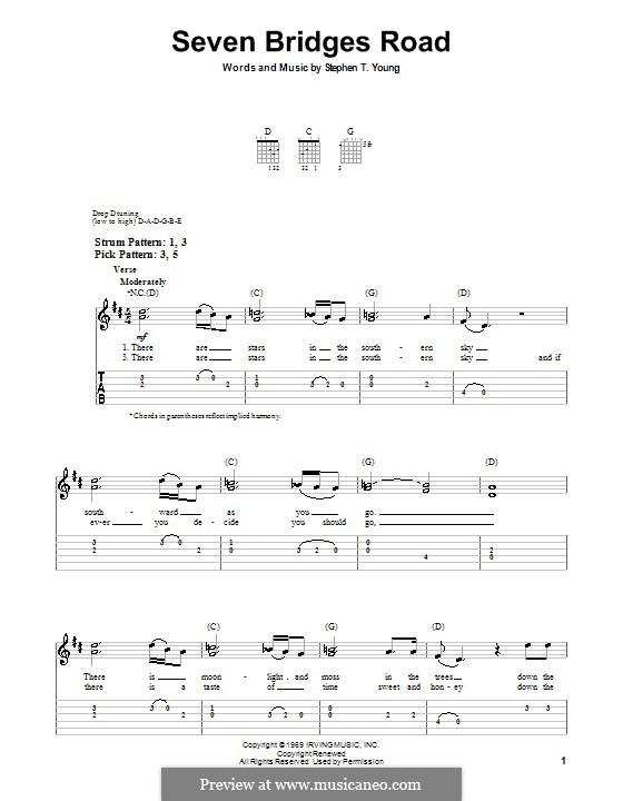 Seven Bridges Road (The Eagles): Für Gitarre (Sehr leichte Fassung) by Stephen T. Young