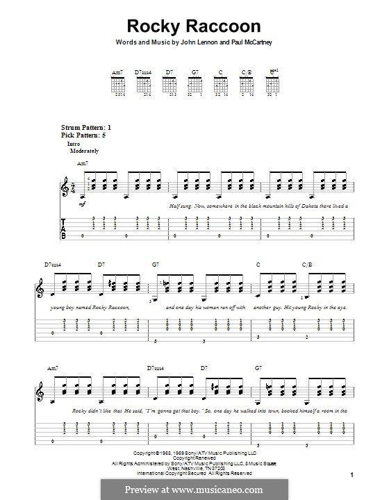 Rocky Raccoon (The Beatles): Für Gitarre (Sehr leichte Fassung) by John Lennon, Paul McCartney