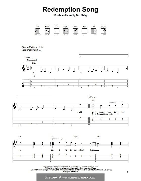 Redemption Song: Für Gitarre (Sehr leichte Fassung) by Bob Marley
