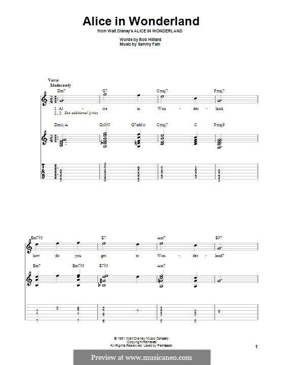 Alice in Wonderland (Bill Evans): Für Gitarre mit Tabulatur by Bob Hilliard, Sammy Fain