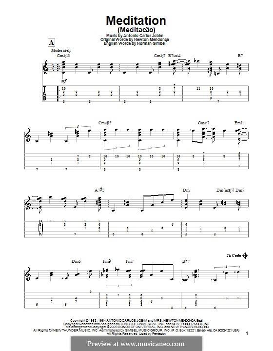 Meditation: Für Gitarre mit Tab by Antonio Carlos Jobim