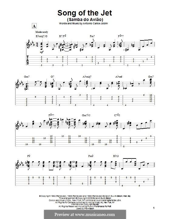 Song of the Jet (Samba do Aviao): Für Gitarre mit Tabulatur by Antonio Carlos Jobim