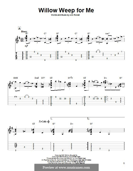 Willow Weep for Me (Chad & Jeremy): Für Gitarre mit Tab by Ann Ronell