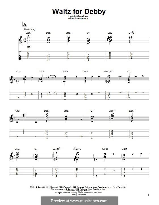 Waltz for Debby: Für Gitarre mit Tab by Bill Evans