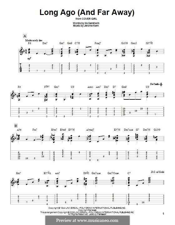 Long Ago (and Far Away): Für Gitarre mit Tabulatur by Jerome Kern