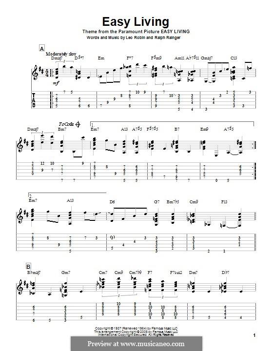 Easy Living (Billie Holiday): Für Gitarre mit Tab by Leo Robin, Ralph Rainger