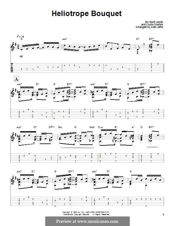Heliotrope Bouquet: Für Gitarre mit Tab by Scott Joplin, Louis Chauvin