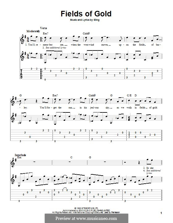 Fields of Gold: For guitar with tabulature and lyrics by Sting