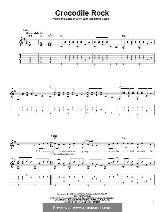 Crocodile Rock: Für Gitarre mit Tabulatur by Elton John