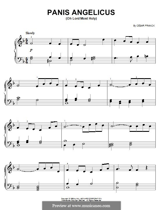 Panis Angelicus (O Lord Most Holy), Printable Scores: Einfache Noten für Klavier by César Franck