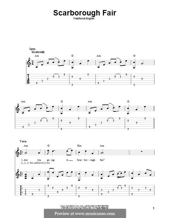 Scarborough Fair: Für Gitarre mit Tabulatur by folklore