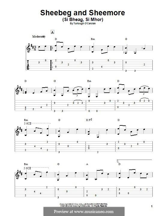 Sheebeg and Sheemore: Für Gitarre mit Tab by Turlough O'Carolan
