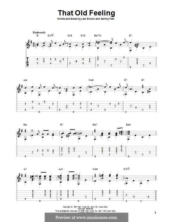 That Old Feeling: Für Gitarre mit Tabulatur by Lew Brown, Sammy Fain