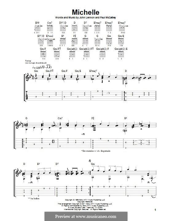 Michelle (The Beatles), for One Instrument: Für Gitarre by John Lennon, Paul McCartney