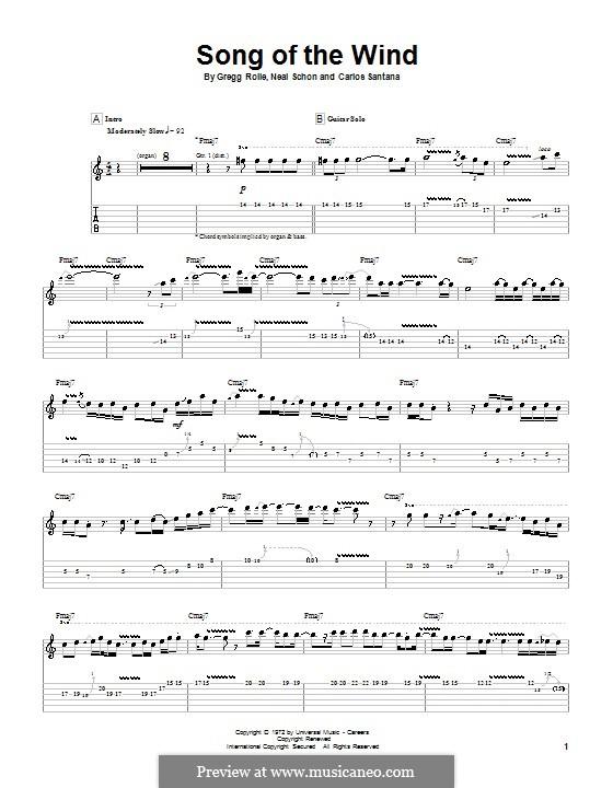Song of the Wind (Santana): Für Gitarre mit Tabulatur by Gregg Rolie, Neal Schon