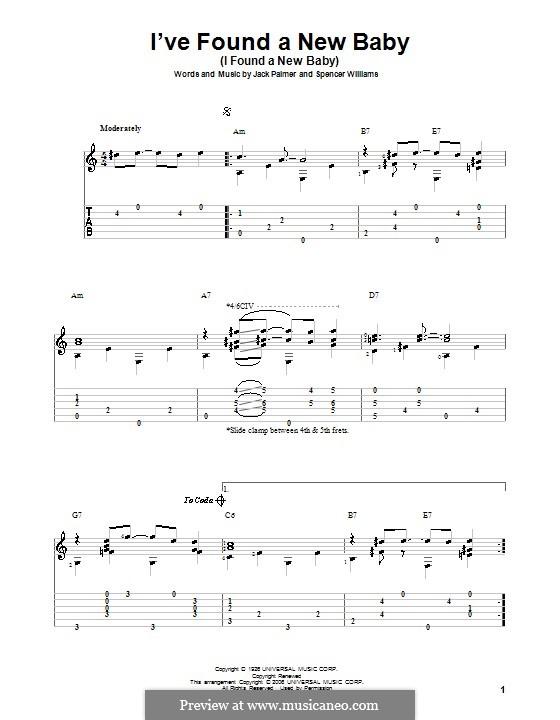 I've Found a New Baby (I Found a New Baby): Für Gitarre mit Tab by Jack Palmer, Spencer Williams