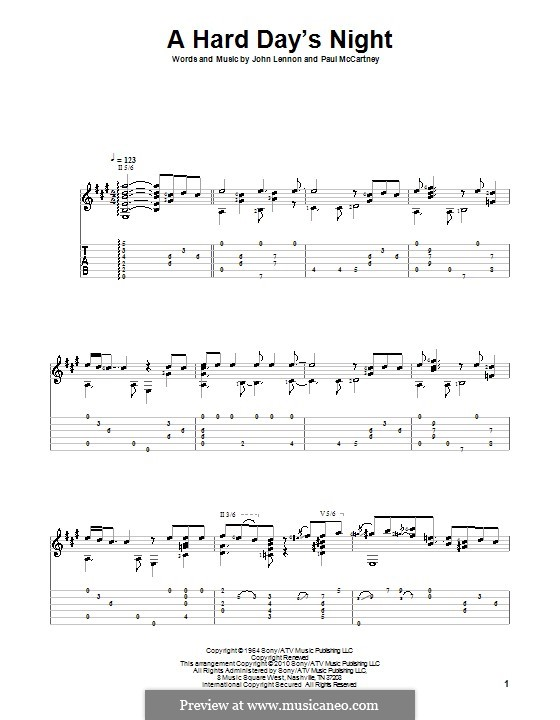 A Hard Day's Night (The Beatles): Für Gitarre by John Lennon, Paul McCartney