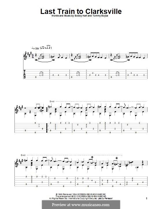 Last Train to Clarksville (The Monkees): Für Gitarre mit Tabulatur by Bobby Hart, Tommy Boyce