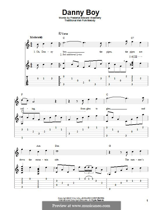 Danny Boy (Londonderry Air) Printable Scores: Für Gitarre mit Tabulatur by folklore