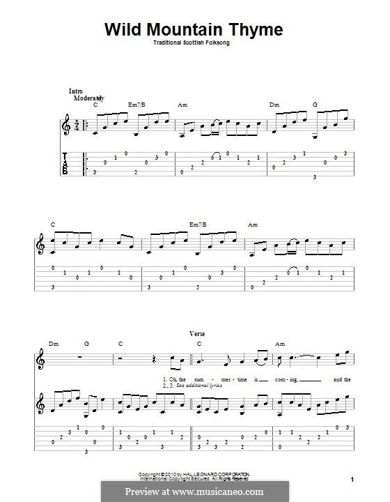Wild Mountain Thyme: Für Gitarre mit Tabulatur by folklore