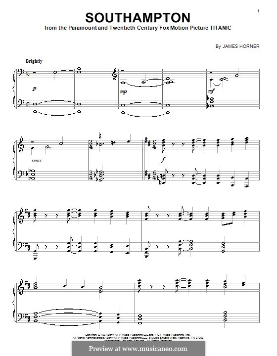 Southampton: Für Klavier by James Horner
