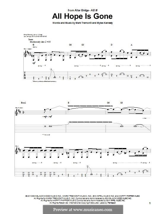 All Hope Is Gone (Alter Bridge): Für Gitarre mit Tabulatur by Mark Tremonti, Myles Kennedy