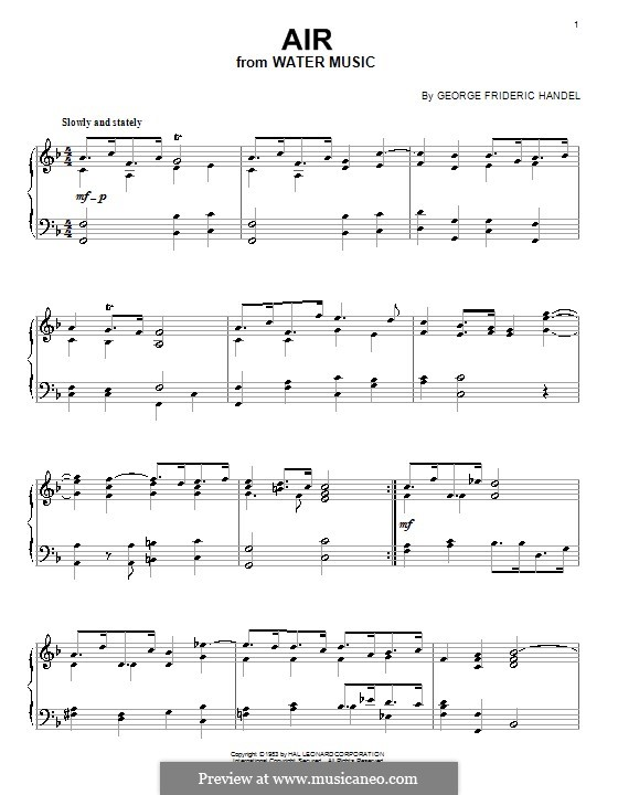 Suite Nr.1 in F-Dur, HWV 348: Arie, für Klavier by Georg Friedrich Händel