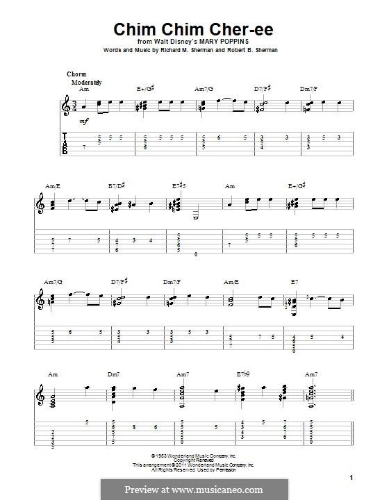 Chim Chim Cher-ee (from Mary Poppins): Für Gitarre by Richard M. Sherman, Robert B. Sherman