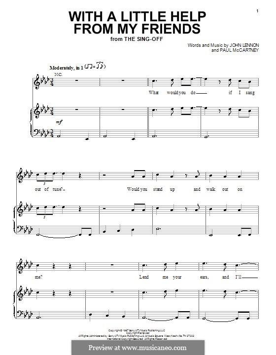 With a Little Help from My Friends (The Beatles): Für Stimme und Klavier by John Lennon, Paul McCartney