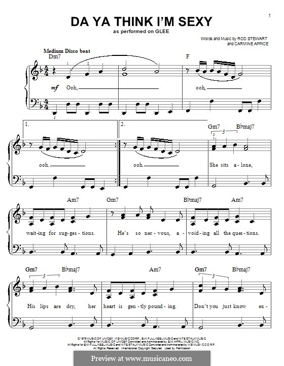 Da Ya Think I'm Sexy: Einfache Noten für Klavier by Carmine Appice