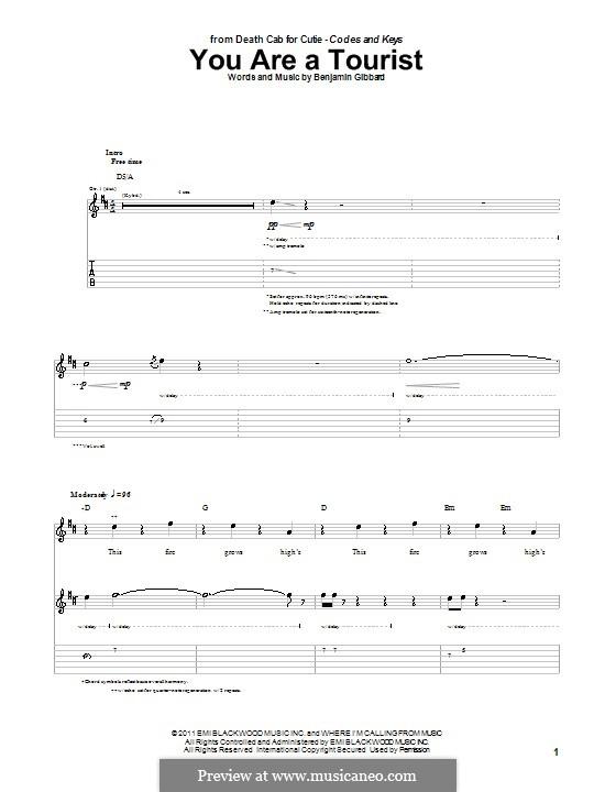 You Are a Tourist (Death Cab for Cutie): Für Gitarre mit Tabulatur by Benjamin Gibbard