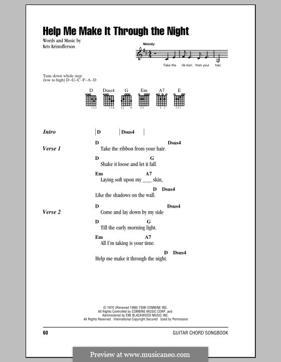 Help Me Make It Through the Night: Texte und Akkorde by Kris Kristofferson