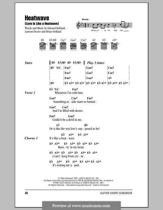 Heatwave (Love Is Like a Heatwave): Text und Akkorde (Martha & The Vandellas) by Brian Holland, Edward Holland Jr., Lamont Dozier
