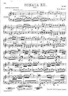 Sonate für Klavier Nr.12 in F-Dur, K.332: Mit Applikatur by Wolfgang Amadeus Mozart
