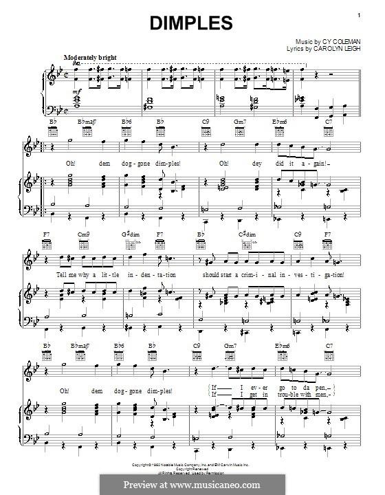 Dimples: Für Stimme und Klavier (oder Gitarre) by Cy Coleman