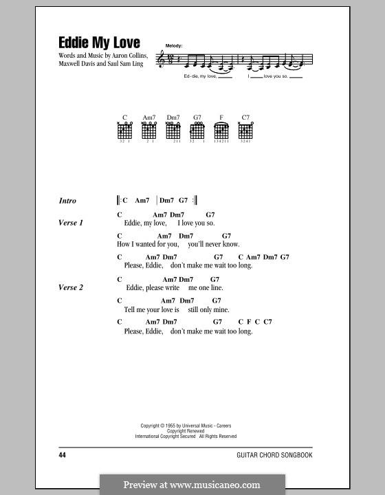 Eddie My Love (The Chordettes): Text und Akkorde by Aaron Collins, Maxwell Davis, Saul Sam Ling