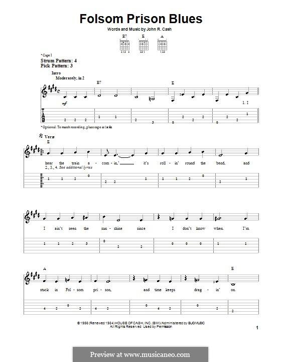 Folsom Prison Blues: Für Gitarre (leicht) by Johnny Cash