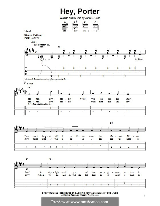 Hey, Porter: Für Gitarre (leicht) by Johnny Cash