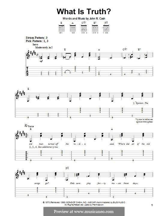 What Is Truth?: Für Gitarre (Sehr leichte Fassung) by Johnny Cash