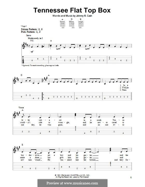 Tennessee Flat Top Box: Für Gitarre (leicht) by Johnny Cash