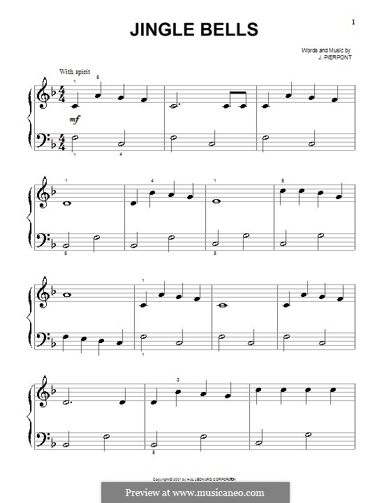 Jingle Bells, for Piano: Sehr leichte Fassung by James Lord Pierpont