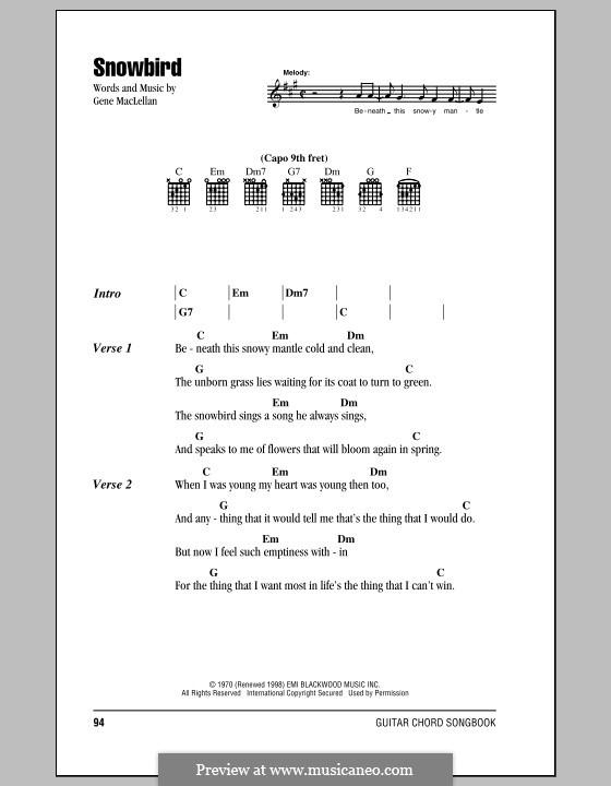 Snowbird (Anne Murray): Text und Akkorde by Gene MacLellan
