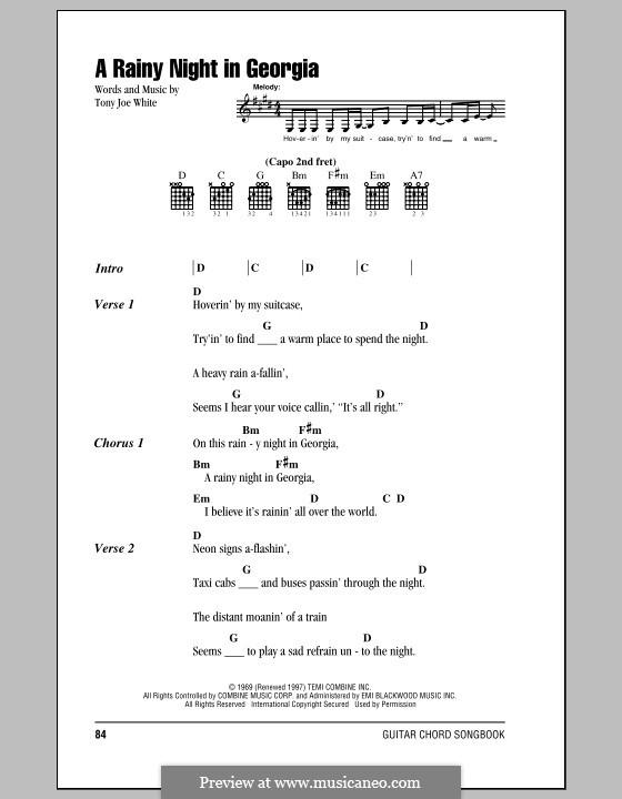 A Rainy Night in Georgia: Texte und Akkorde by Tony Joe White