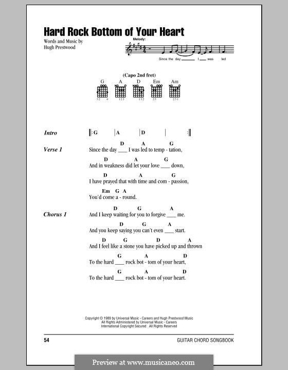 Hard Rock Bottom of Your Heart (Randy Travis): Texte und Akkorde by Hugh Prestwood
