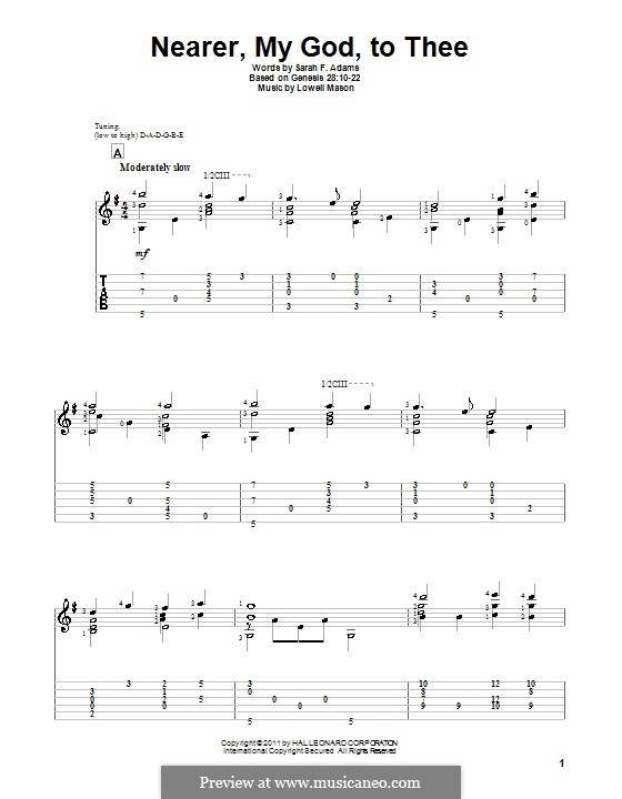 Nearer, My God, To Thee (Printable scores): Für Gitarre by Lowell Mason