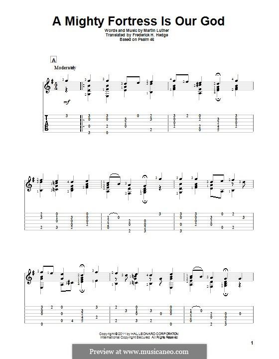Ein feste Burg ist unser Gott: Für Gitarre by Martin Luther