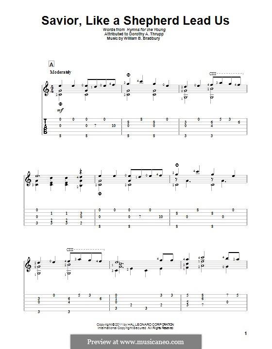 Savior, Like a Shepherd Lead Us: Für Gitarre mit Tab by William Batchelder Bradbury