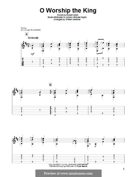 O Worship The King: Für Gitarre mit Tabulatur by Michael Haydn