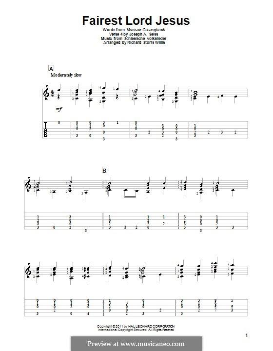 Fairest Lord Jesus: Für Gitarre by folklore