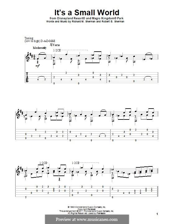 It's a Small World (from Disneyland Park and Magic Kingdom Park): Für Gitarre by Richard M. Sherman, Robert B. Sherman